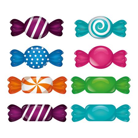 sweet candy lollipops  flavors colors background vector illustration Ilustração