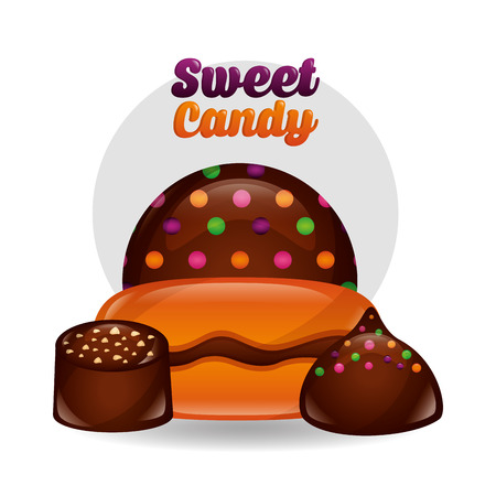 sweet candy chocolate chips bonbons vector illustration Ilustrace