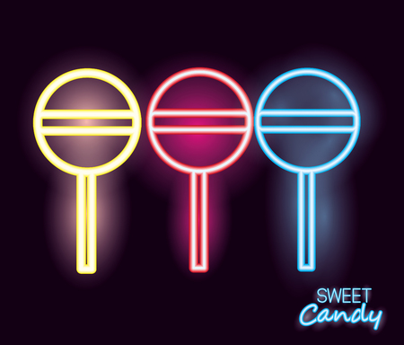 sweet candy flavors lollipops neon vector illustration Illustration