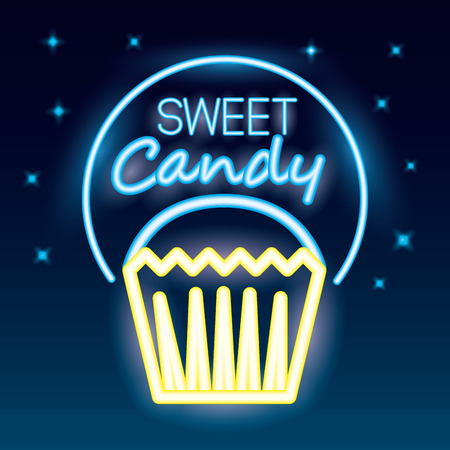 sweet candy sticker sign neon cake vector illustration