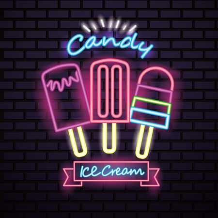 sweet candy ice creams flavors ribbon sign neon vector illustration