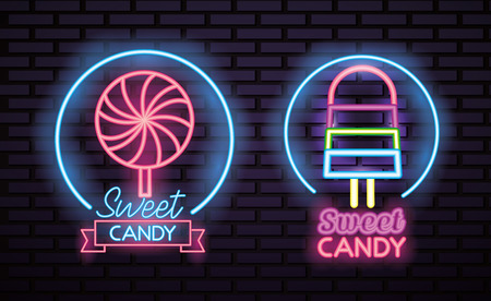 sweet candy stickers caramel lollipop ice cream neon vector illustration