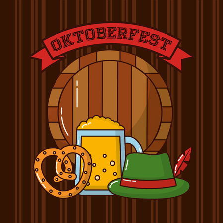 oktoberfest beer traditional hat heart bretzelvector illustration Illustration
