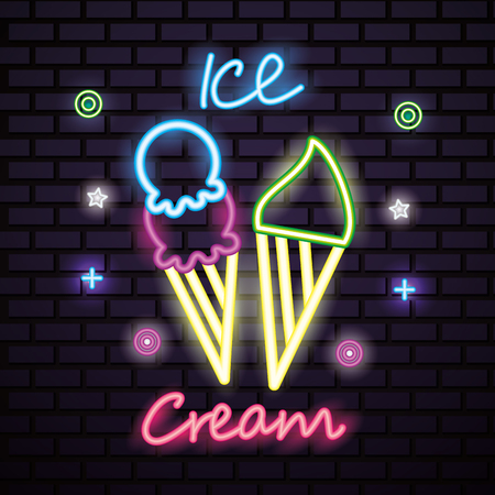 sweet candy ice creams colors symbols neon vector illustration