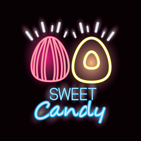 sweet candy almonds sign neon style flavors vector illustration