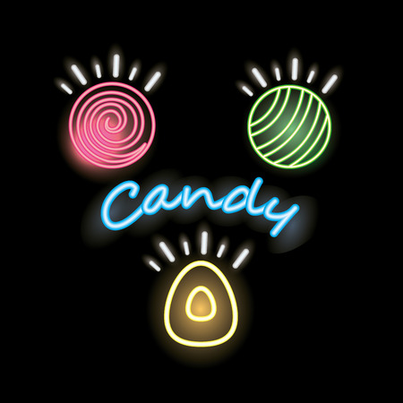 sweet candy sign neon almonds caramels vector illustration