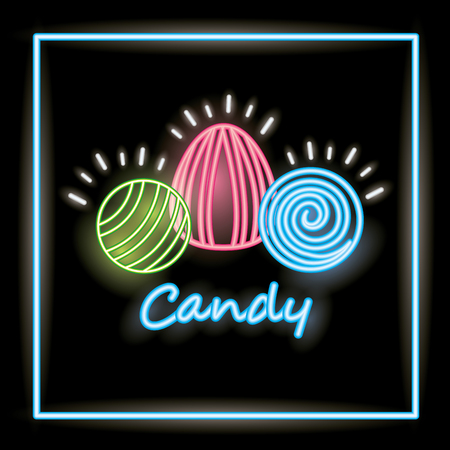 sweet candy almonds caramels neon frame vector illustration Illustration