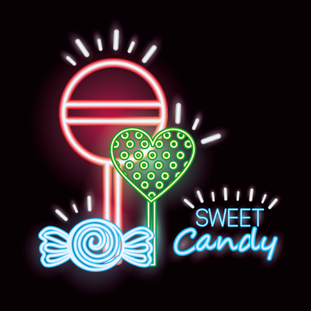 sweet candy caramels lollipops flavors neon vector illustration