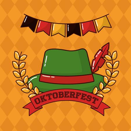 oktoberfest pennants leaves traditional hat vector illustration