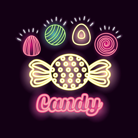 sweet candy caramel almonds neon lights vector illustration