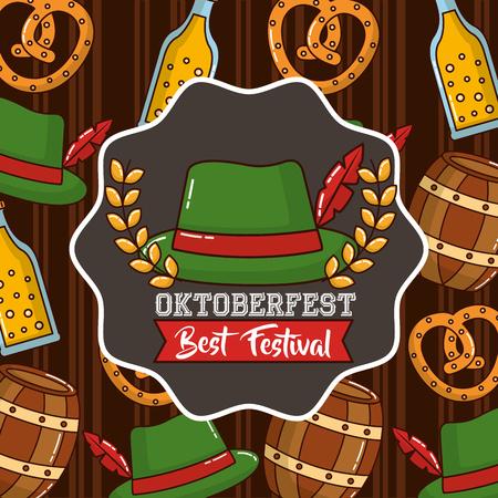 oktoberfest sticker leaves traditional hat barrels background vector illustration