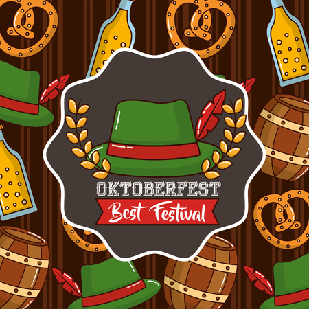 oktoberfest sticker leaves traditional hat barrels background vector illustration