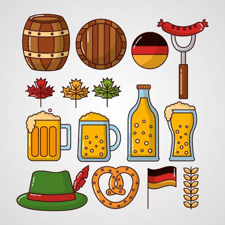 oktoberfest beers heart bretzelhat german flag barrels leaves vector illustration