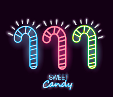 sweet candy canes flavors neon sign lights vector illustration Ilustrace