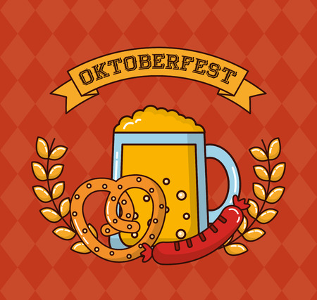 oktoberfest ribbon sign leaves heart bretzel beer sausage vector illustration