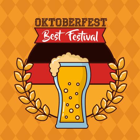oktoberfest leaves traditional beer german sign vector illustration