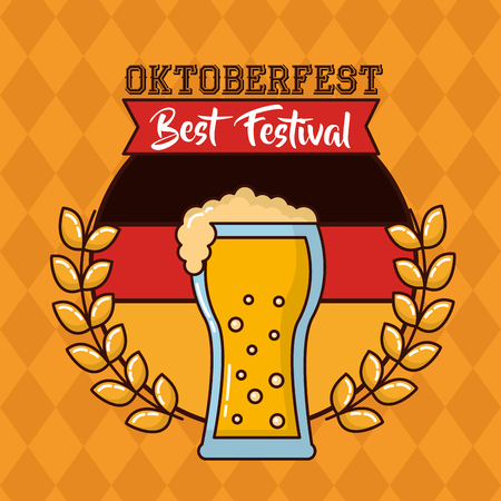oktoberfest leaves traditional beer german sign vector illustration