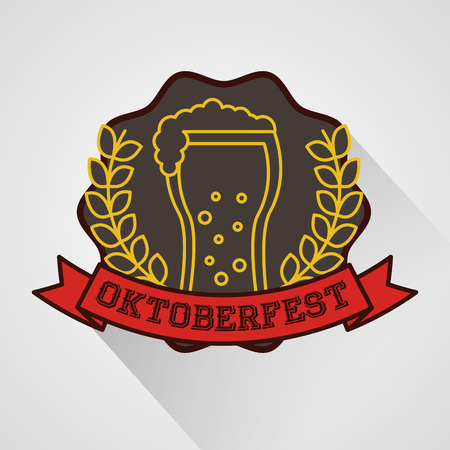 oktoberfest ribbon sign sticker leaves drink beer vector illustration Stock Illustratie