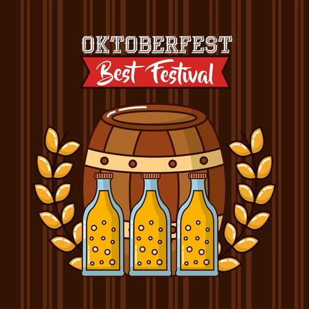 oktoberfest barrel beers leaves ribbon sign vector illustration