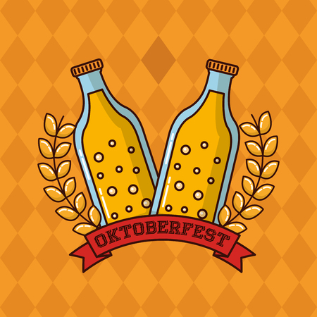 oktoberfest leaves red ribbon sign beers vector illustration