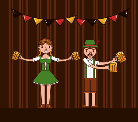 oktoberfest girl and boy holding beers pennants celebration vector illustration