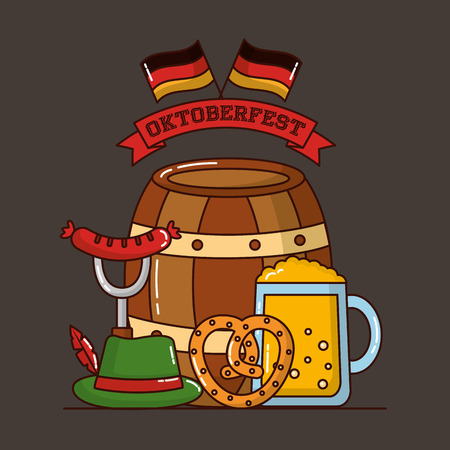 oktoberfest germany flags ribbon barrel heart bretzel traditional hat beer vector illustration Foto de archivo - 110085770