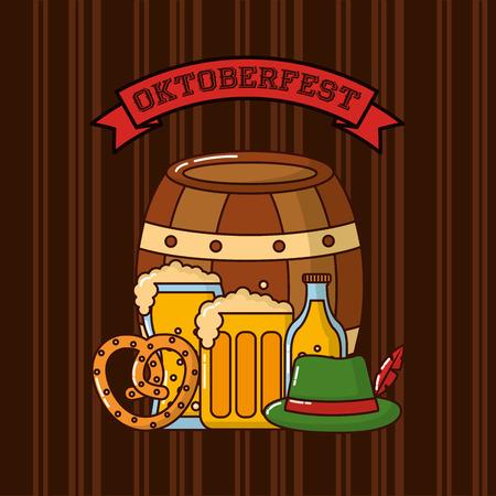 oktoberfest barrel heart bretzel beers hat ribbon sign vector illustration