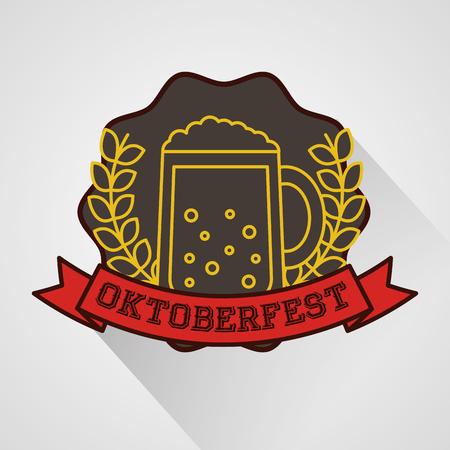 oktoberfest leaves ribbon sign sticker beer vector illustration