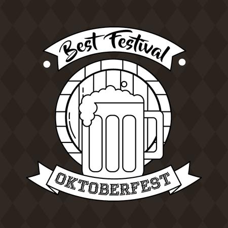 oktoberfest germany barrel sticker beer best festival vector illustration