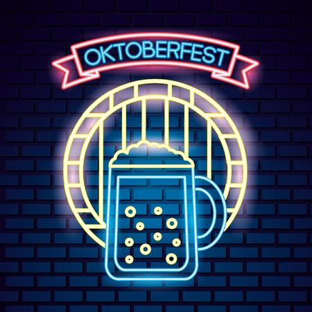 oktoberfest germany barrel beer best festival neon vector illustration
