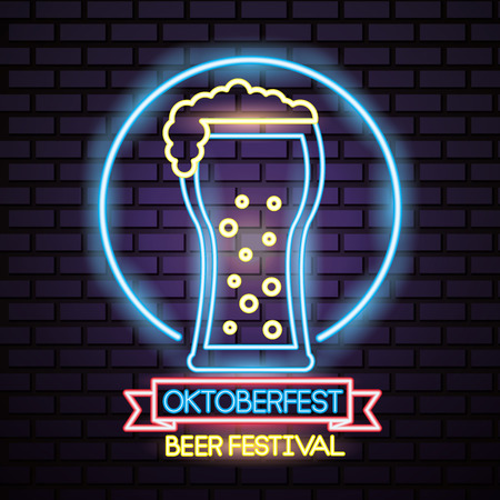 oktoberfest germany neon circle beer festival vector illustraiton