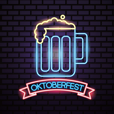oktoberfest germany ribbon sign beer celebration neon style vector illustration