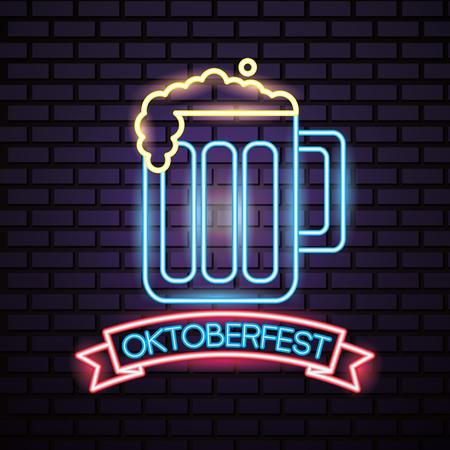 oktoberfest germany ribbon sign beer celebration neon style vector illustration