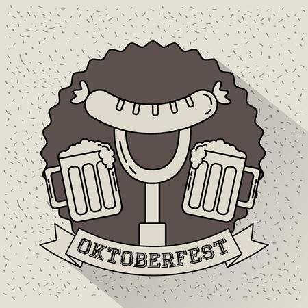oktoberfest germany fork sausage beers sticker ribbon sign vector illustration