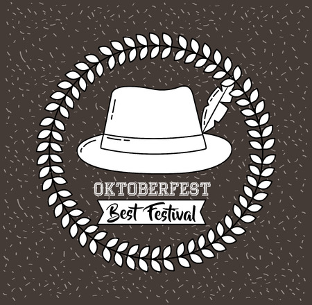 oktoberfest germany leaves sticker traditional hat ribbon sign vector illustration