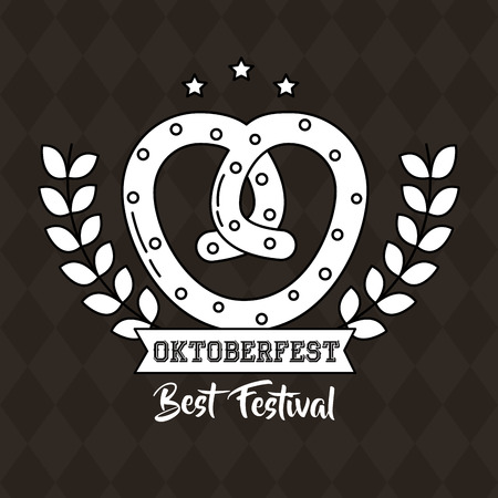 oktoberfest germany bretzel heart leaves vector illustration