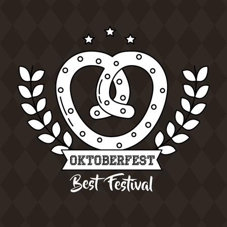 oktoberfest germany bretzel heart leaves vector illustration Illustration