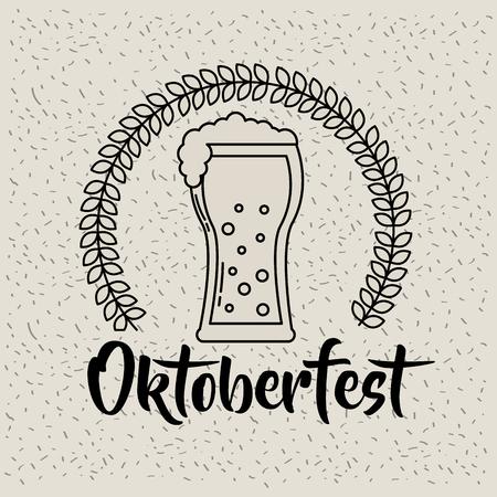 oktoberfest germany leaves beer drink celebration vector illustration