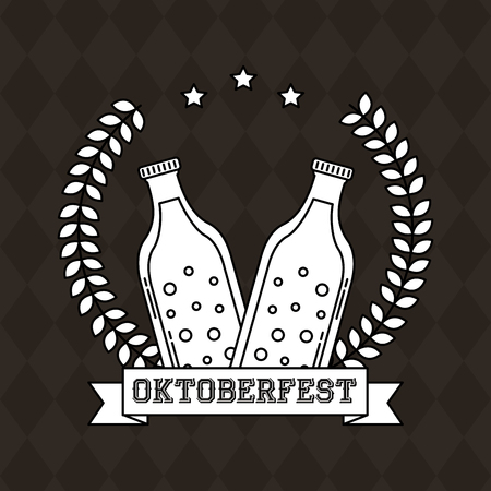 oktoberfest germany leaves stars bottle beer vector illustration