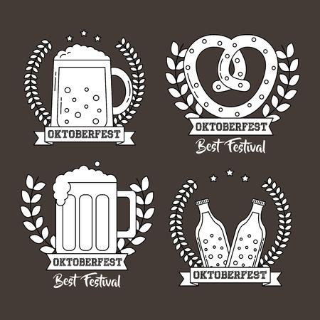 Oktoberfest Deutschland Aufkleber traditionelle Biere Bretzel Feier Vektor-Illustration