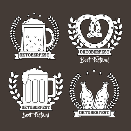 oktoberfest germany stickers traditional beers bretzel celebration vector illustration  イラスト・ベクター素材