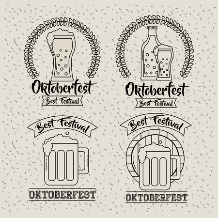 oktoberfest germany leaves stickers drinks beers best festival vector illustration