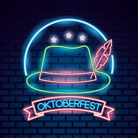 oktoberfest germany stars neon traditional hat vector illustration