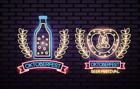 oktoberfest germany stickers leaves neon bretzel beer vector illustration