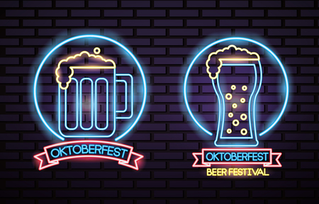 oktoberfest germany circle neon beer celebration festival vector illustration