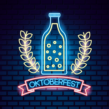 oktoberfest germany leaves bottle drink ribbon sign neon vector illustration 向量圖像