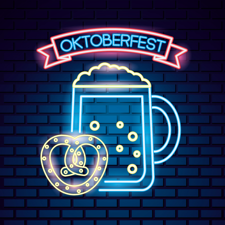 oktoberfest germany heart bretzel beer neon style vector illustration Archivio Fotografico - 108147895