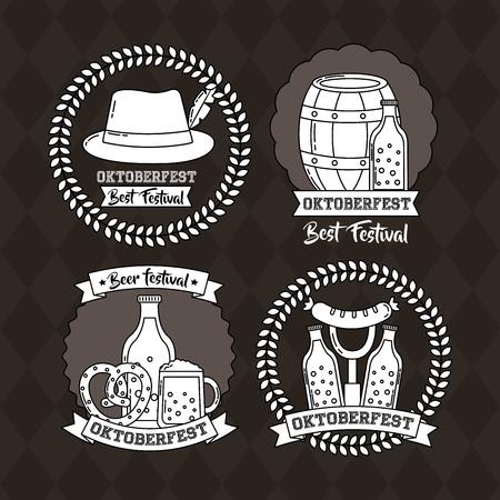 Oktoberfest Deutschland Aufkleber traditionelle Hut Fass Bier Lebensmittel Vektor-Illustration Vektorgrafik