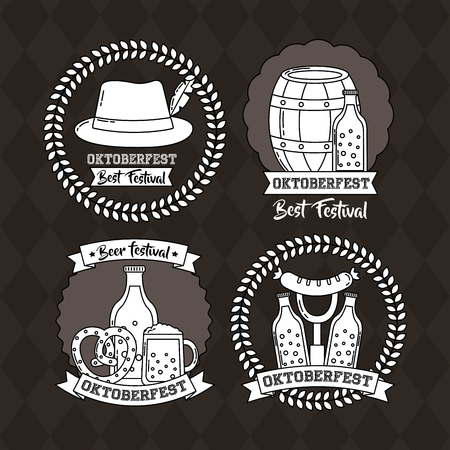 oktoberfest germany stickers traditional hat barrel beer food vector illustration