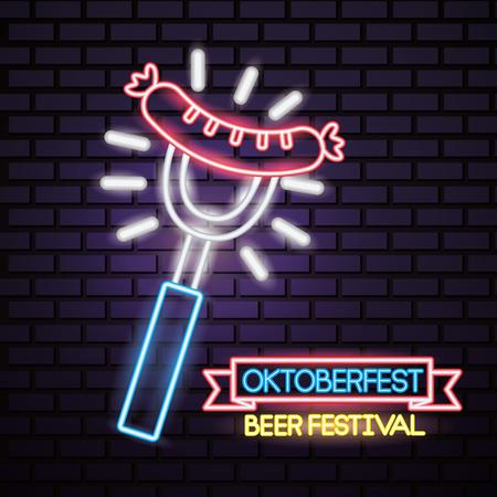oktoberfest germany fork sausage lights beer celebration festival neon vector illustration